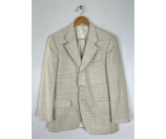 80s Cream Blue & Orange Plaid Sport Coat Mens Size