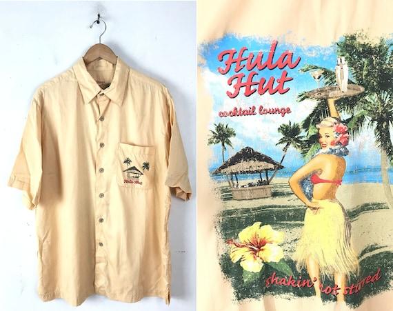 90s Hula Hut Cocktail Lounge Hawaiian Shirt Mens L