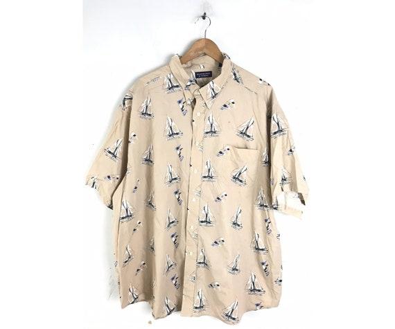90s Sailboat Print Shirt Mens Size 3X, Preppy Naut