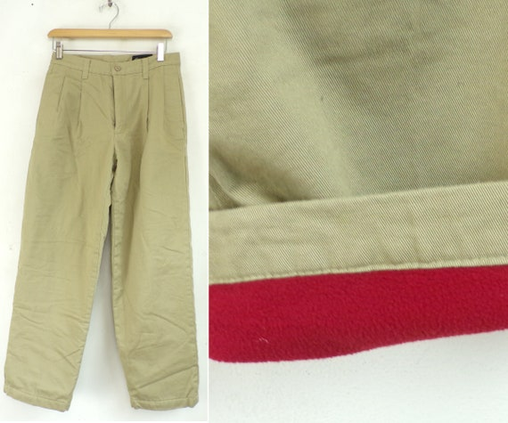 Vintage Eddie Bauer Fleece Lined Khaki Pants Size