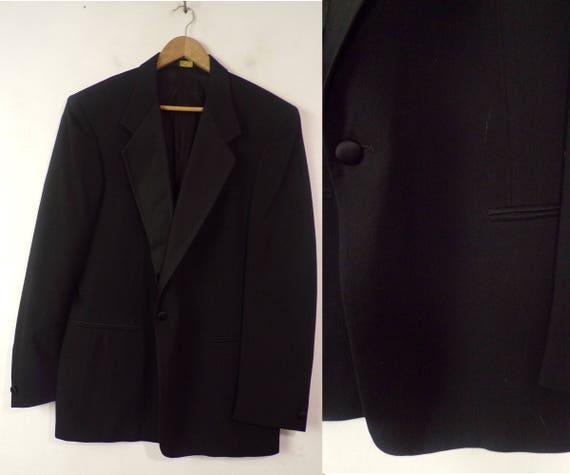 Vintage Black Tuxedo Jacket Mens Size 46, Formal E