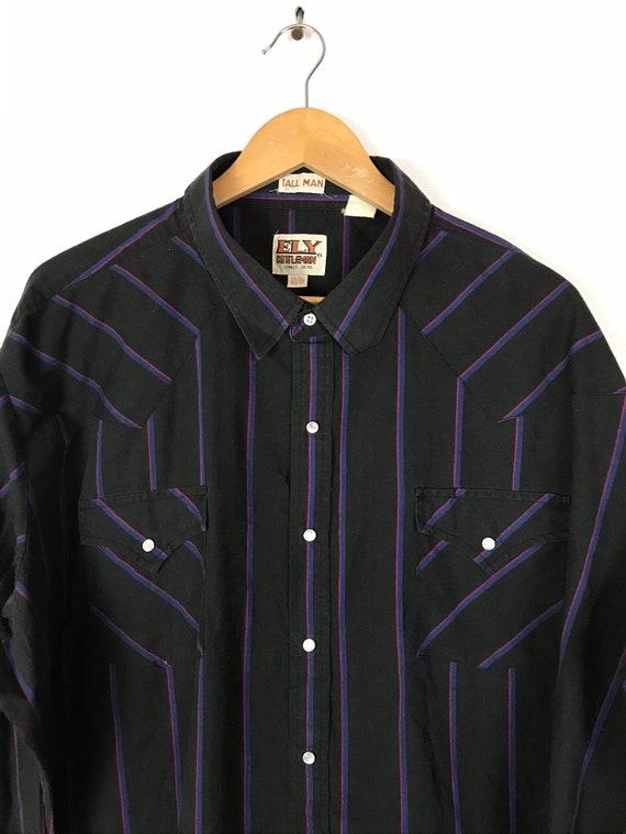 Vintage Black Pink & Blue Striped Western Shirt M… - image 3