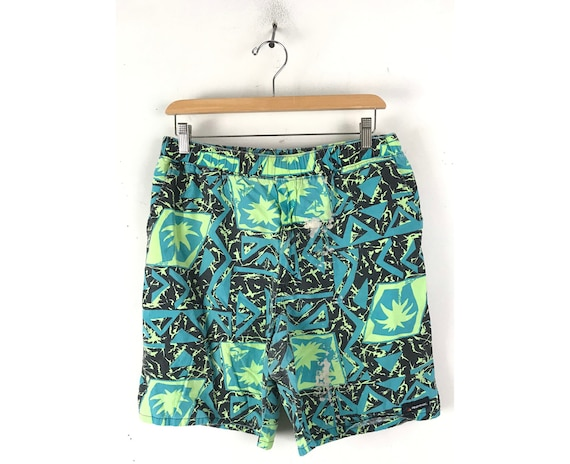 80s Green & Black Abstract Print Shorts Mens Size
