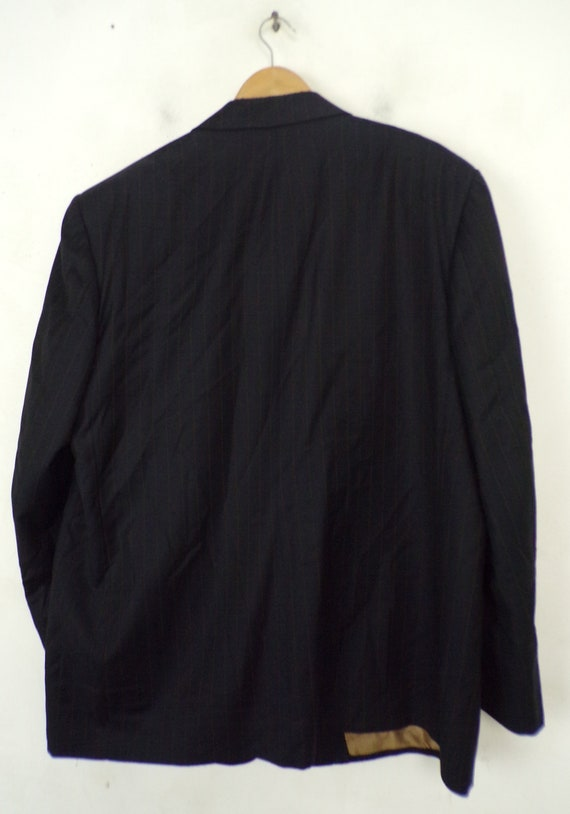 Vintage Black Gold Pinstriped Two Piece Suit Mens… - image 6