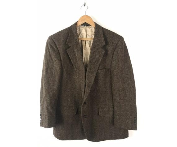 90s Brown Tweed Sport Coat Mens Size 46, Classic T