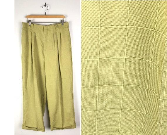 Vintage Green Plaid Wide Leg Swing Pants Mens Size