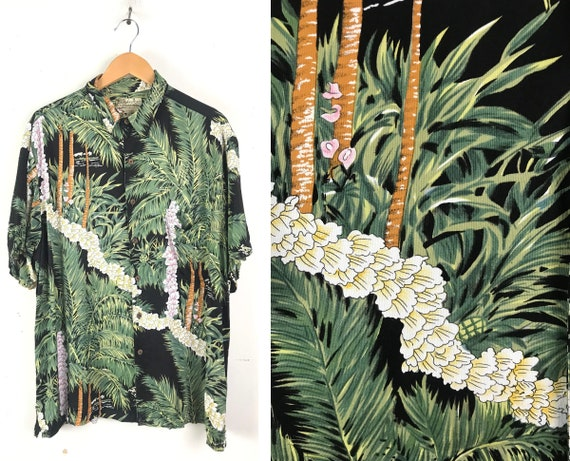 Vintage Floral Palm Tree Hawaiian Shirt Mens XL, B