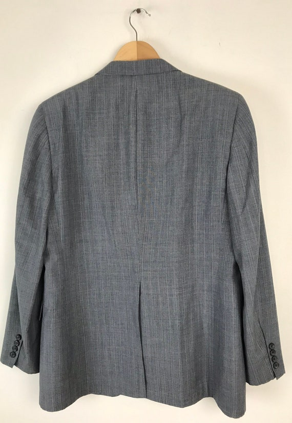 70s Blue Gray Pinstriped Two Piece Suit Mens Size… - image 7