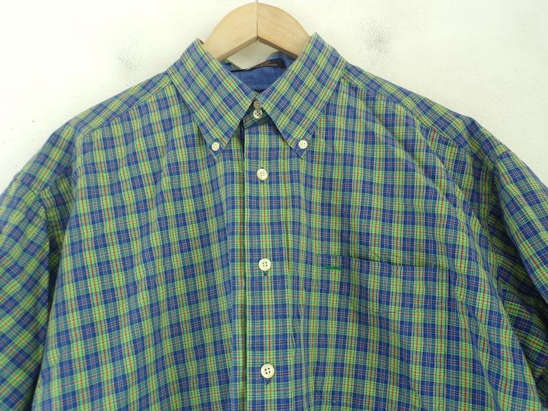 Mens Plaid Plaid Preppy Vintage Tommy Hilfiger Blue Green /& Red Plaid Shirt Mens Large Tommy Tommy Hilfiger Plaid Shirt Green Plaid