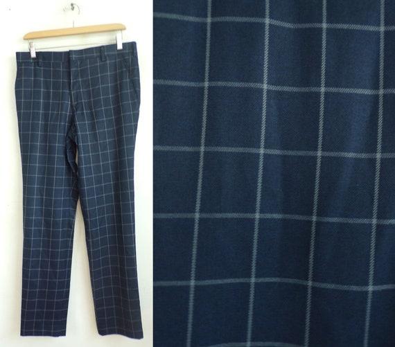 Vintage Blue & White Plaid Dress Pants Mens 32 Wai