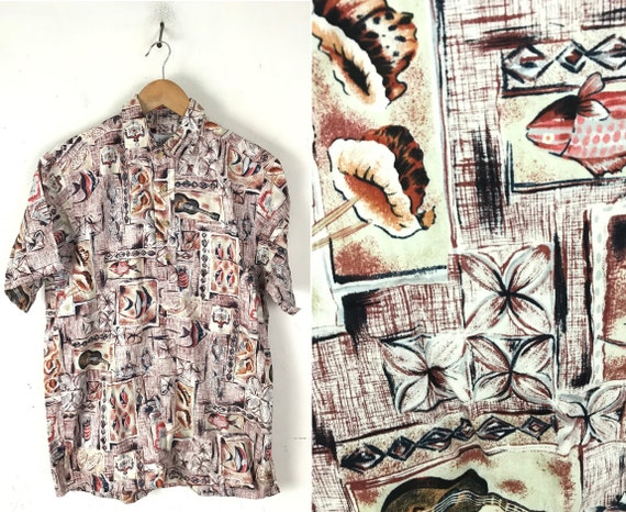 Vintage Fish & Seashell Hawaiian Shirt Mens Medium