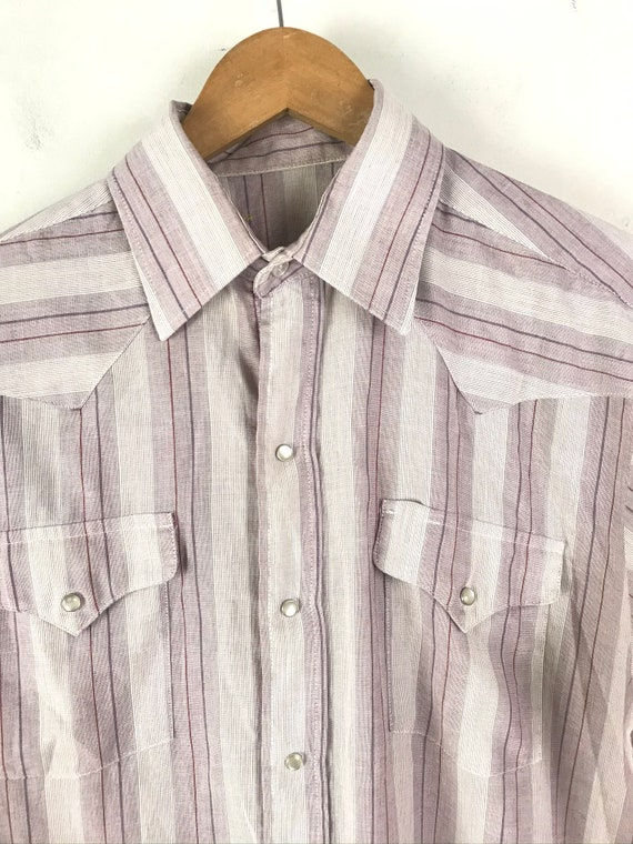 Vintage Purple & White Striped Western Shirt Mens… - image 3