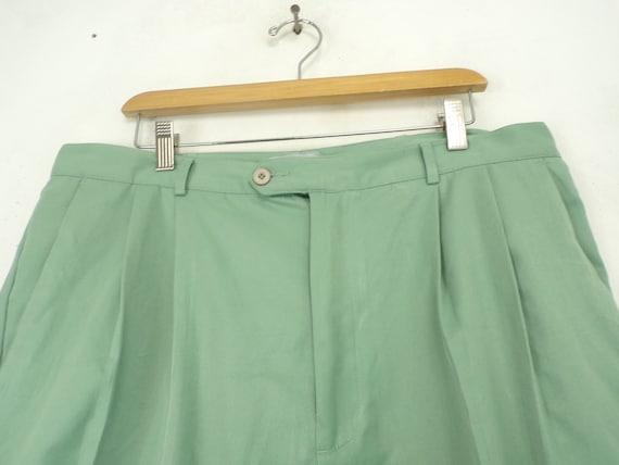 Vintage Mens Shorts, Light Green 38 Waist, Pleate… - image 2