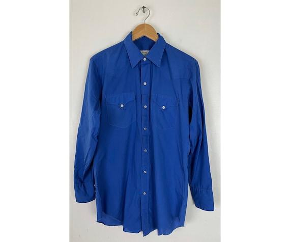 Vintage Cobalt Blue Western Shirt Mens Size 15.5 3