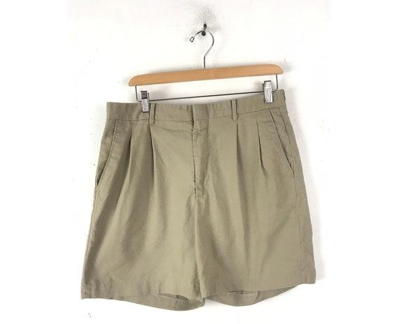 Y2k Highwaisted Bermuda Shorts Khaki Pleated Shorts Cotton Shorts Sportswear Vintage Shorts 00S Streetwear Deadstock Shorts Size 26