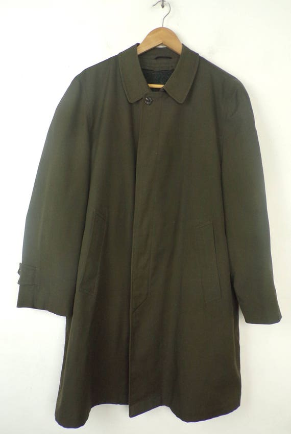 80s Alligator Brand Green Trench Coat Mens Size 4… - image 2