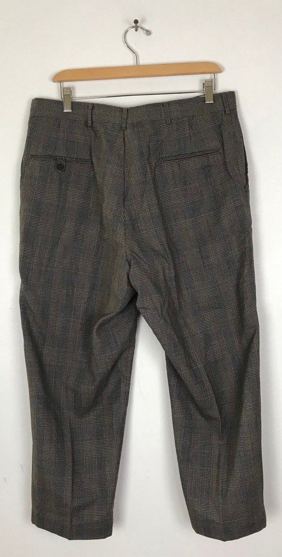1970s Gray Red & Gold Plaid Cropped Pants Mens Si… - image 4