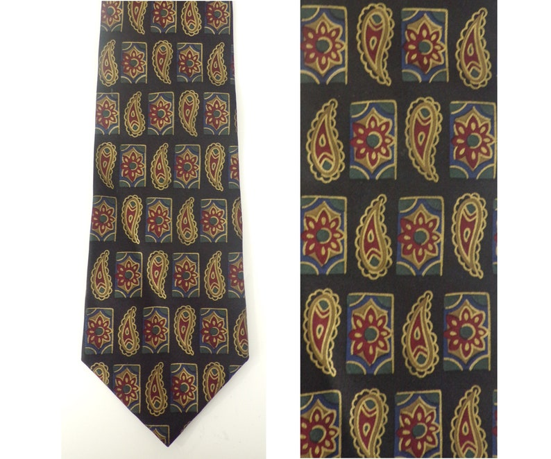 b566aa1f59ea 90s Claiborne Black Gold Red & Green Floral Mens Tie Paisley | Etsy