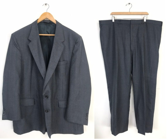80s Gray Pinstriped Two Piece Suit Mens Size 52R &