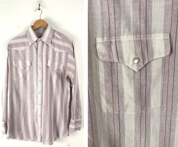 Vintage Purple & White Striped Western Shirt Mens… - image 1