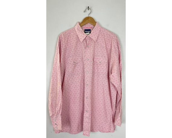 Vintage Wrangler Pink Paisley Western Shirt Mens X