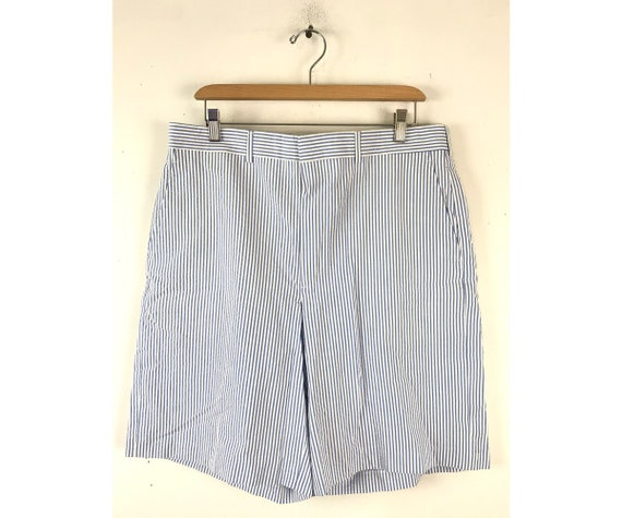 90s Blue & White Seersucker Shorts Mens Size 34 Wa
