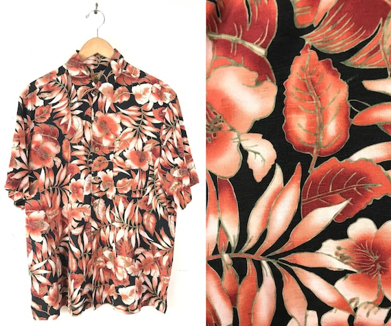 90s Black & Red Floral Hawaiian Shirt Mens Large/X