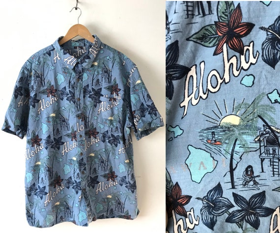 90s Blue Aloha Beach Hawaiian Shirt Mens XXL, Aloh