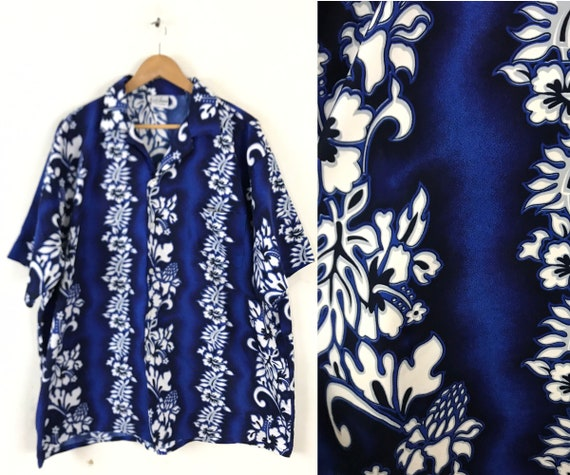 Vintage Floral Hawaiian Shirt 3XL, 90s Mens Size X