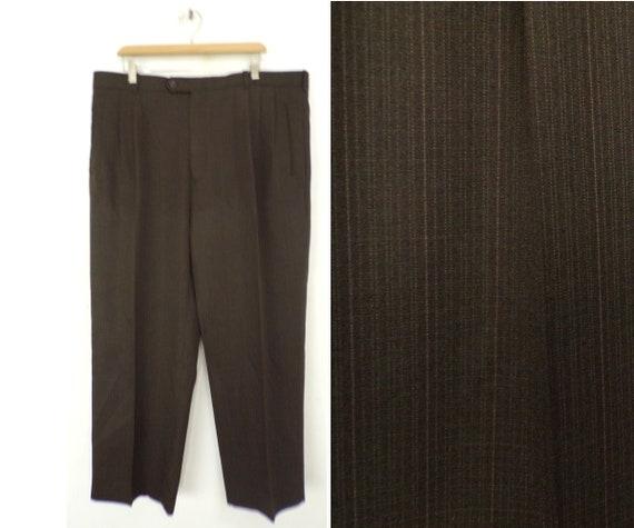 Vintage Brown Pinstriped Dress Pants Mens Size 42