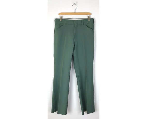 70s JC Penney Green Polyester Pants Mens Size 34 W