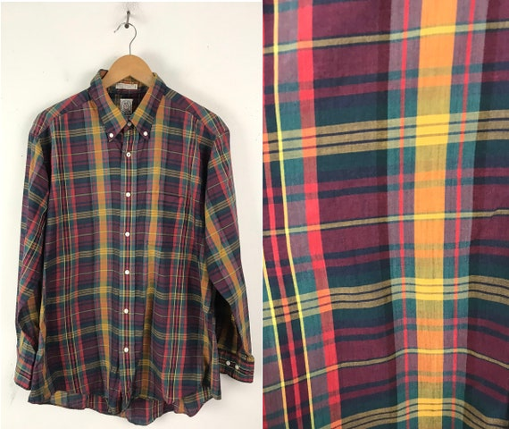 Vintage Red Green & Yellow Plaid Button Down Shirt