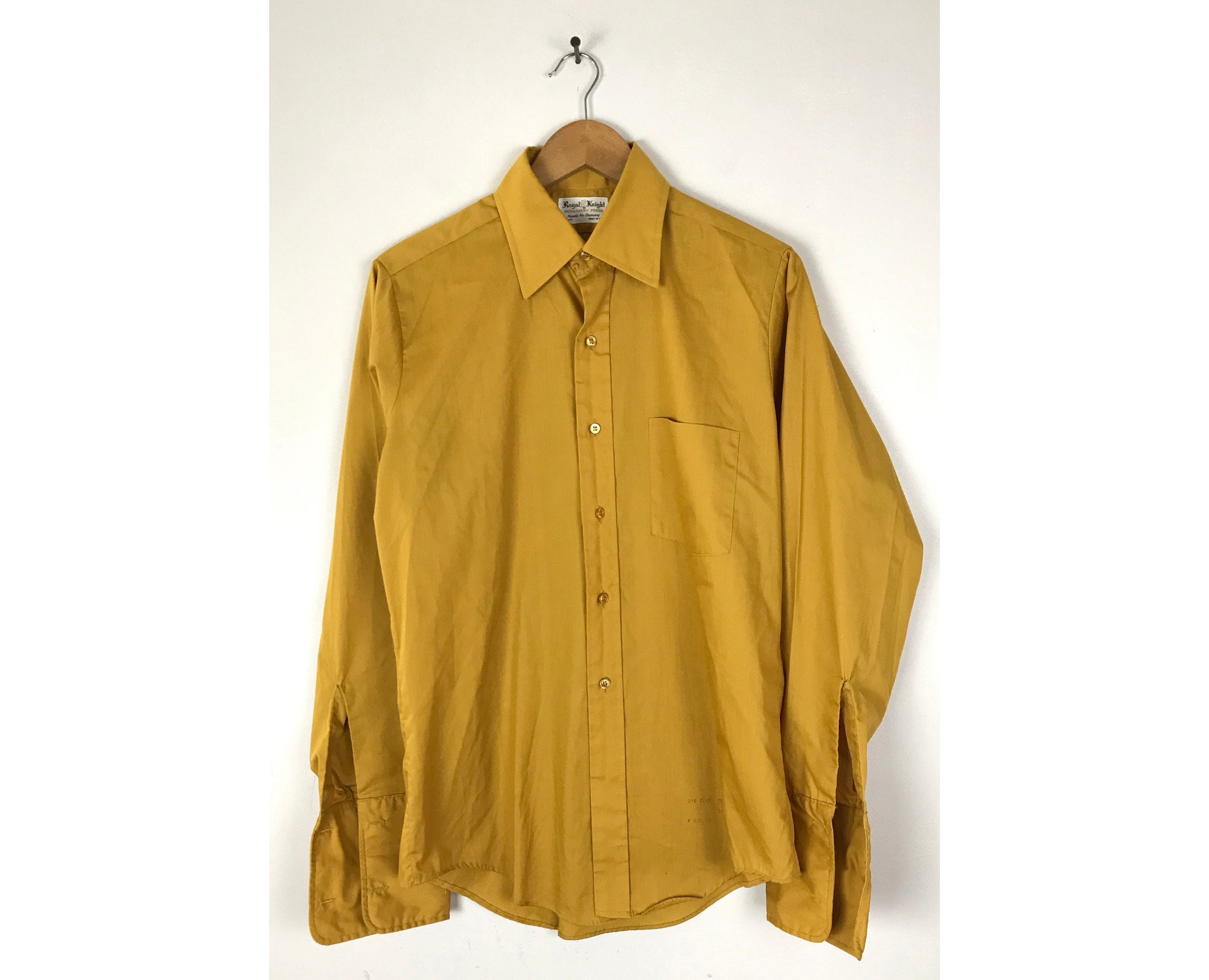 1970s Mens Shirt Styles – Vintage 70s Shirts for Guys 70S Mustard Yellow French Cuff Dress Shirt Mens Size 15 33 Medium, Vintage Formal Event Dressy Shirt, 1970S $26.00 AT vintagedancer.com