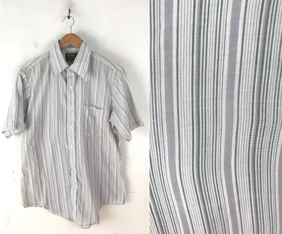 80s White Gray & Green Striped Short Sleeve Button