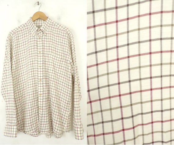 Vintage Brown & Red Plaid Button Down Shirt Mens L