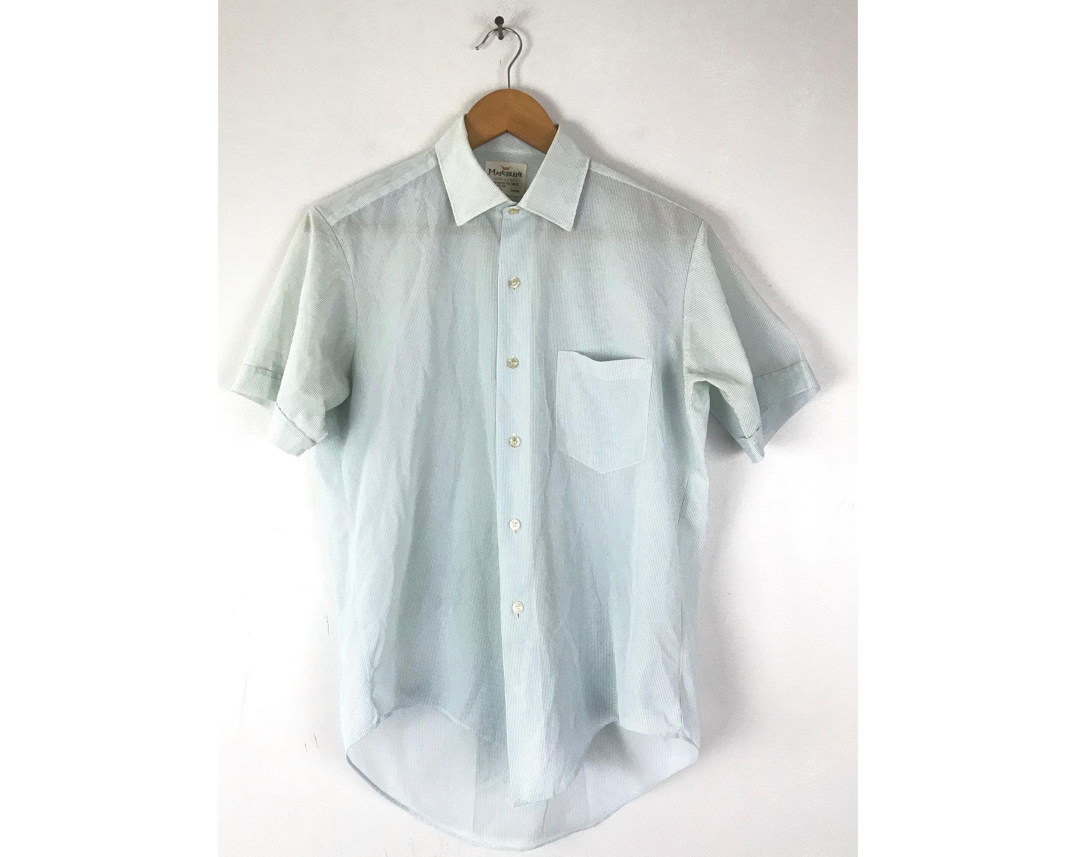 1970s Mens Shirt Styles – Vintage 70s Shirts for Guys Vintage Mens Pinstripe Shirt, Light Blue  White Pinstriped Sheer Shirt Medium, 1970S Button Down Short Sleeve Shirt, Retro Disco $26.00 AT vintagedancer.com
