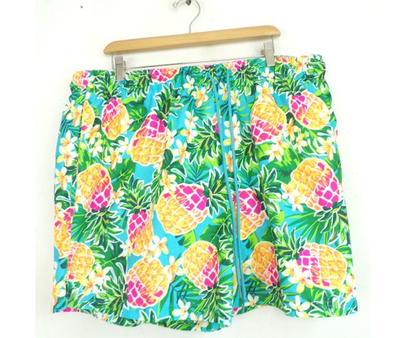 Vintage Colorful Pineapple Print Swim Trunks Mens