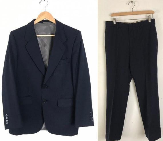 80s Navy Blue Two Piece Suit Mens Size 38R & 32W,