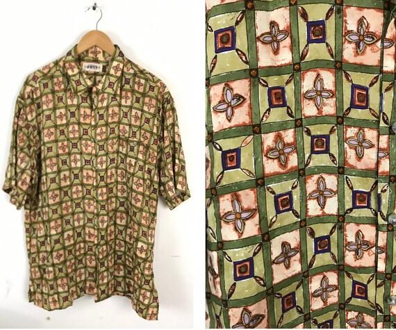 90s Green Orange & Purple Abstract Print Shirt Men