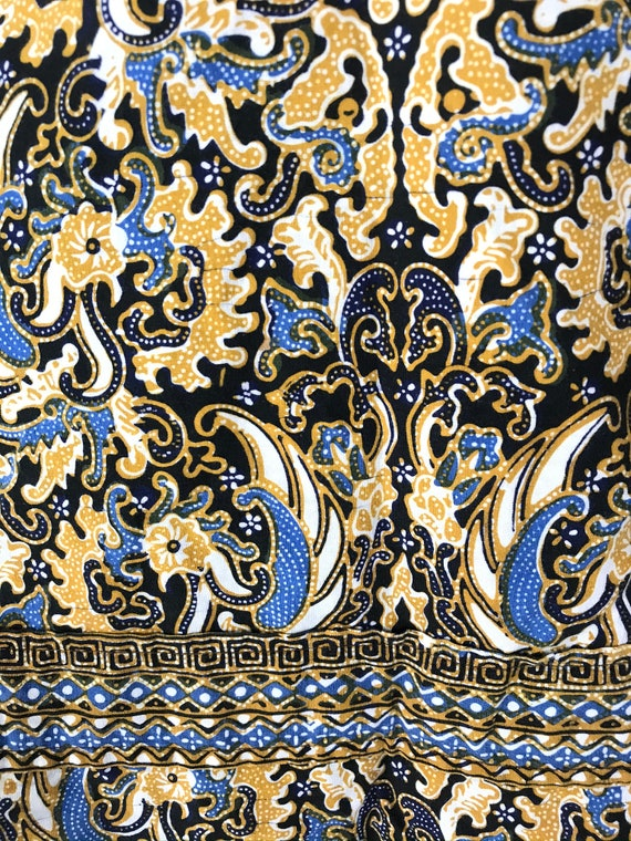 Vintage Gold Black & Blue Abstract Print Shirt Si… - image 5