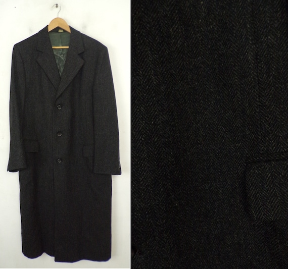 80s Dark Gray Tweed Wool Long Coat Mens Medium, Vi