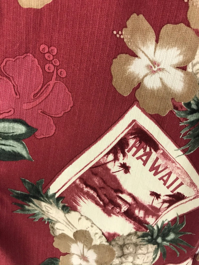 Vintage Red Floral Pineapple Hawaiian Shirt Mens XL Flowered Honolulu Hawaii Shirt Tropical Pineapple Palm Tree Summer Hawaiian Shirt