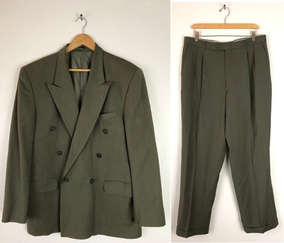Vintage Olive Green Double Breasted Two Piece Suit