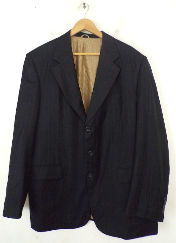 Vintage Black Gold Pinstriped Two Piece Suit Mens… - image 2