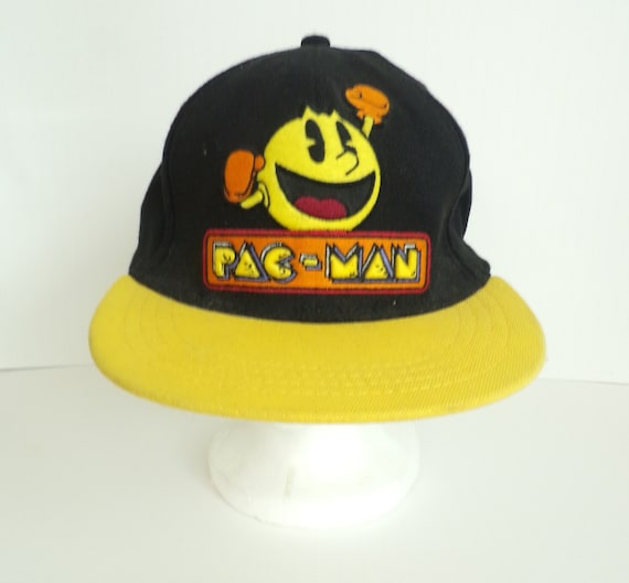 Vintage Pac Man Baseball Hat, Black & Yellow Pac M