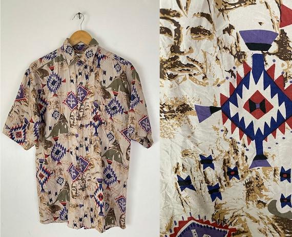 Vintage Brown Aztec Print Silk Button Down Shirt M