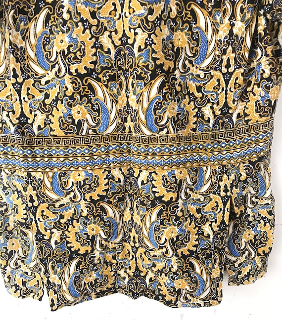Vintage Gold Black & Blue Abstract Print Shirt Si… - image 7