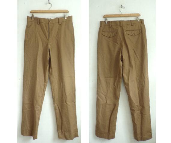 80s LL Bean Tan Wool Pants Mens Size 32 Waist, Tan