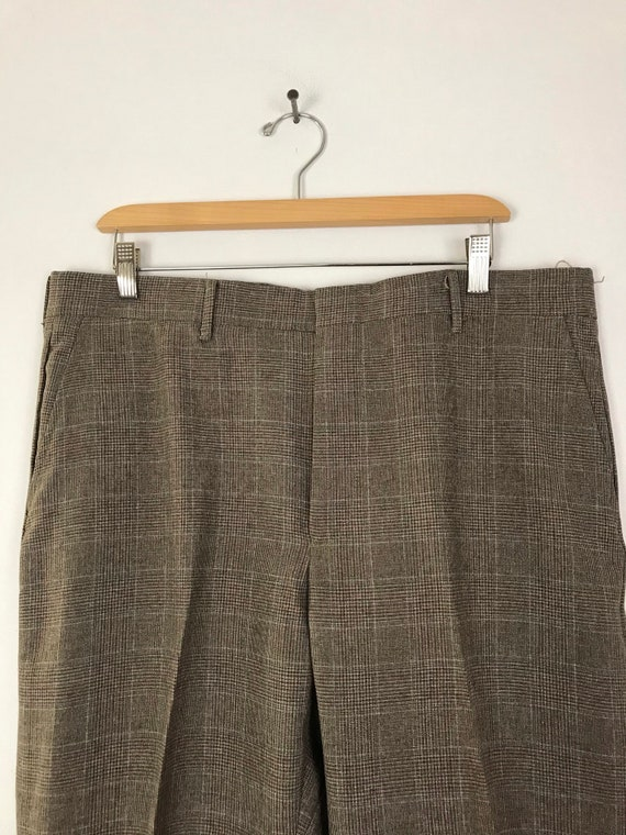 80s Brown & Orange Plaid Cropped Pants Mens Size … - image 3