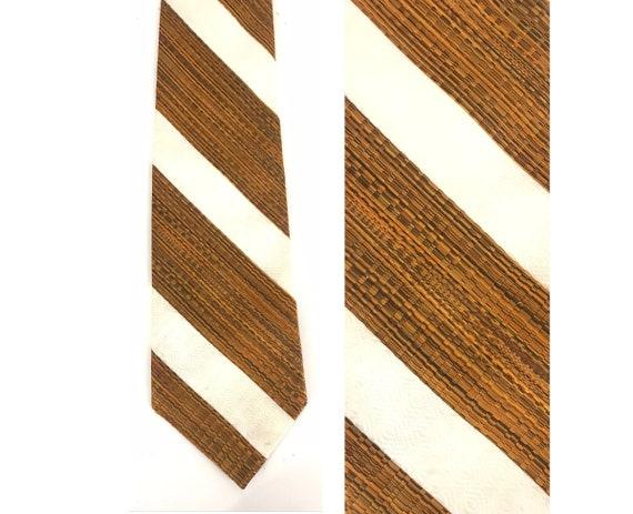 80s Orange & White Wide Striped Tie, Vintage Polye